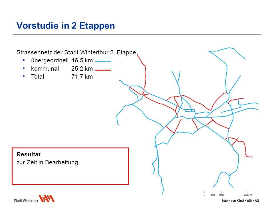 Vorstudie in 2 Etappen Strassennetz der Stadt Winterthur 2.