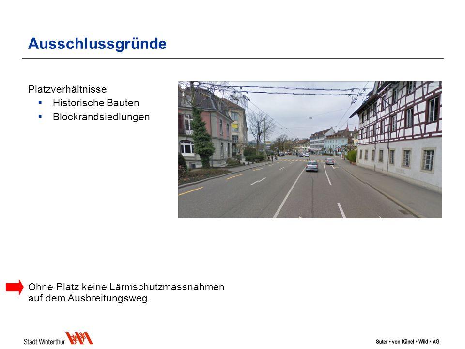 Ausschlussgründe Platzverhältnisse Historische Bauten Blockrandsiedlungen Ohne Platz keine Lärmschutzmassnahmen auf dem Ausbreitungsweg.