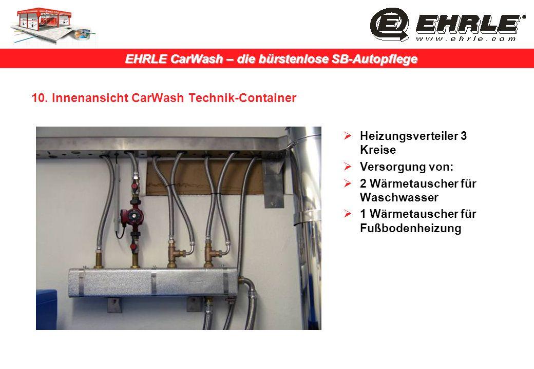 EHRLE CarWash – die bürstenlose SB-Autopflege 10. Innenansicht CarWash Technik-Container Heizungsverteiler 3 Kreise Versorgung von: 2 Wärmetauscher fü