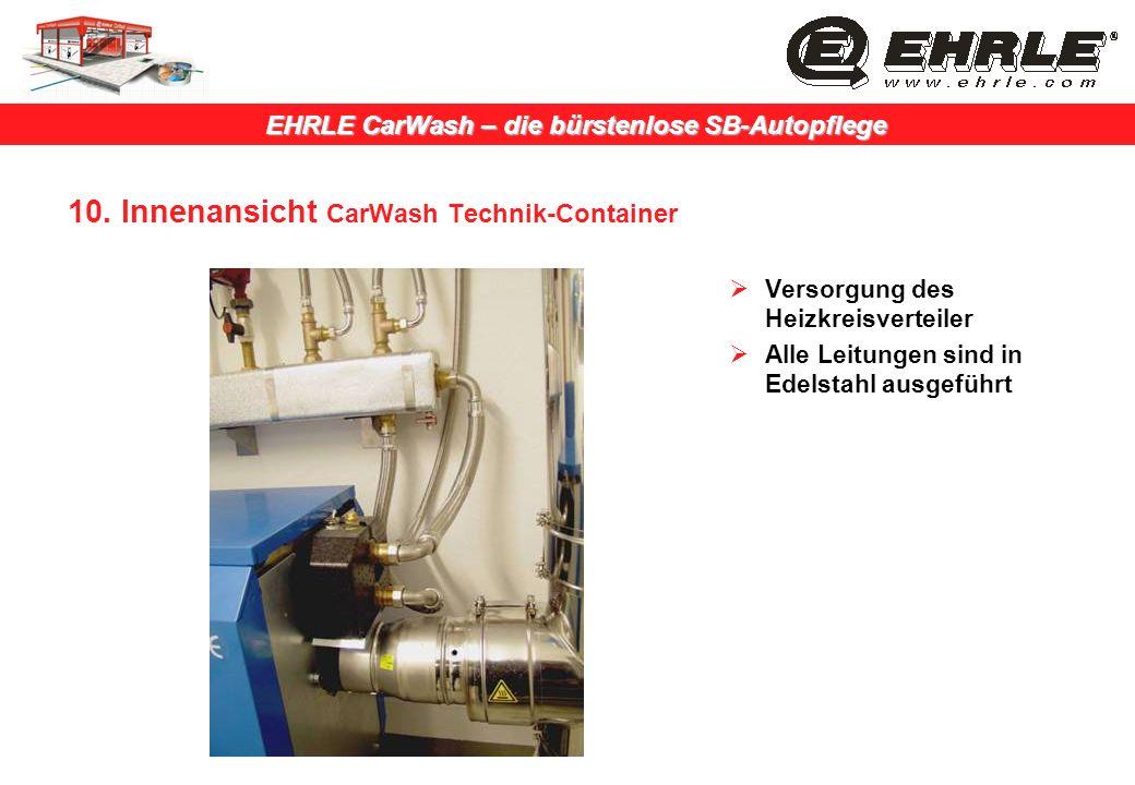 EHRLE CarWash – die bürstenlose SB-Autopflege 10. Innenansicht CarWash Technik-Container Versorgung des Heizkreisverteiler Alle Leitungen sind in Edel