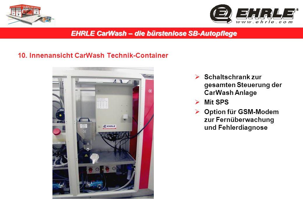 EHRLE CarWash – die bürstenlose SB-Autopflege 10. Innenansicht CarWash Technik-Container Schaltschrank zur gesamten Steuerung der CarWash Anlage Mit S