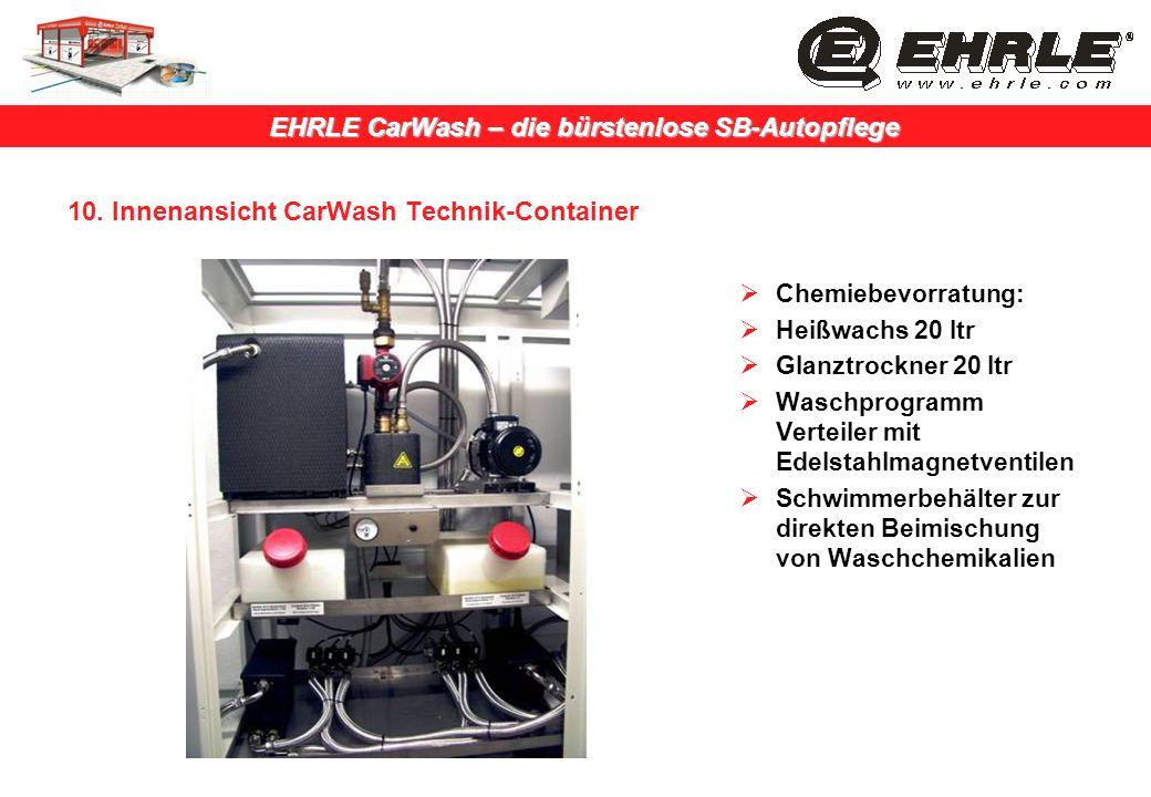 EHRLE CarWash – die bürstenlose SB-Autopflege 10. Innenansicht CarWash Technik-Container Chemiebevorratung: Heißwachs 20 ltr Glanztrockner 20 ltr Wasc
