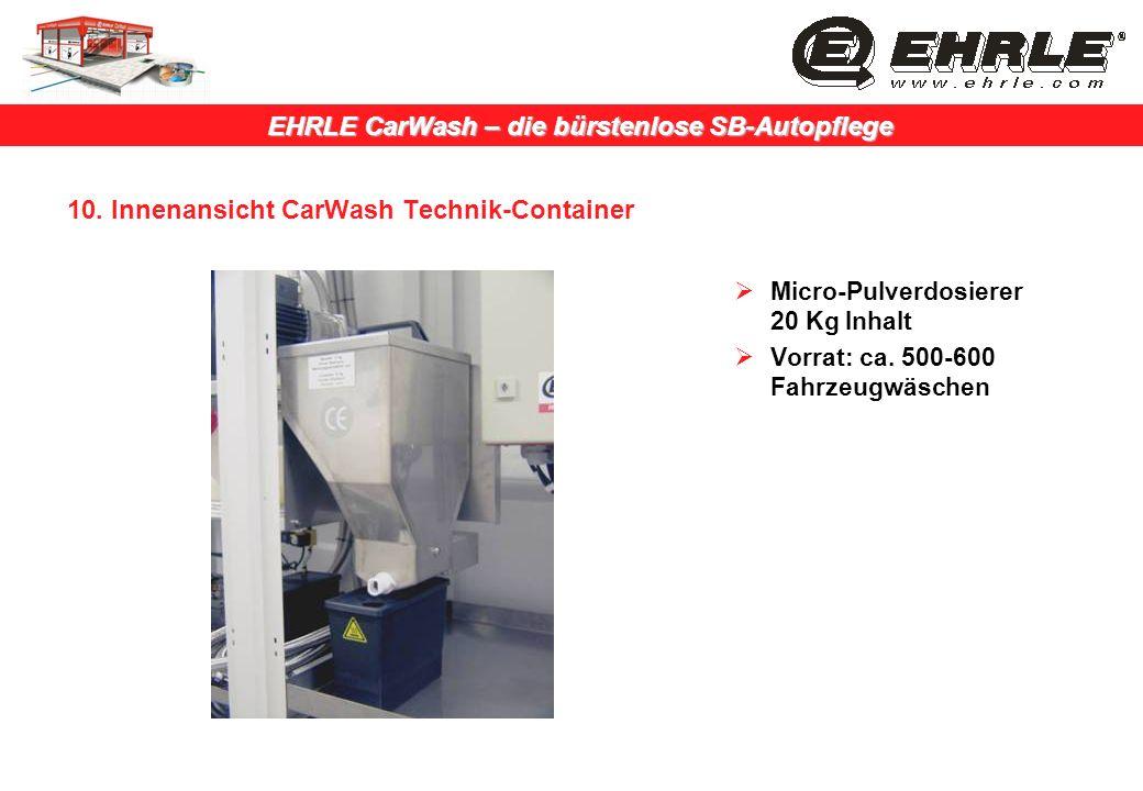 EHRLE CarWash – die bürstenlose SB-Autopflege 10. Innenansicht CarWash Technik-Container Micro-Pulverdosierer 20 Kg Inhalt Vorrat: ca. 500-600 Fahrzeu