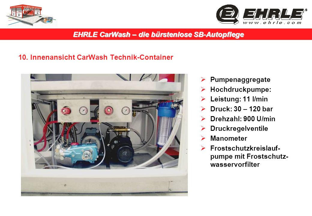 EHRLE CarWash – die bürstenlose SB-Autopflege 10. Innenansicht CarWash Technik-Container Pumpenaggregate Hochdruckpumpe: Leistung: 11 l/min Druck: 30