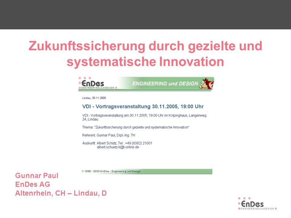 1 - Innovationsarten/Begriffsdefinition 2 - Innovation am Beispiel Autoindustrie 3 - Innovationsmethoden 4 - Strukturierte Innovation (Vorgehensmodell EnDes) 5 - Innovationscontrolling 6 - Innovationspotential und Widerstände Inhalt