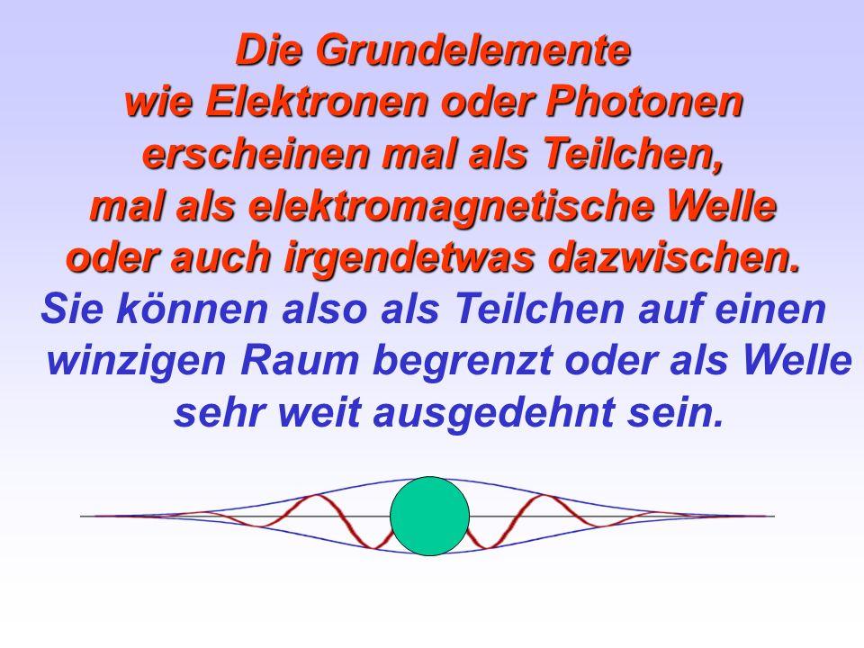 Die Grundelemente wie Elektronen oder Photonen erscheinen mal als Teilchen, mal als elektromagnetische Welle oder auch irgendetwas dazwischen. Sie kön