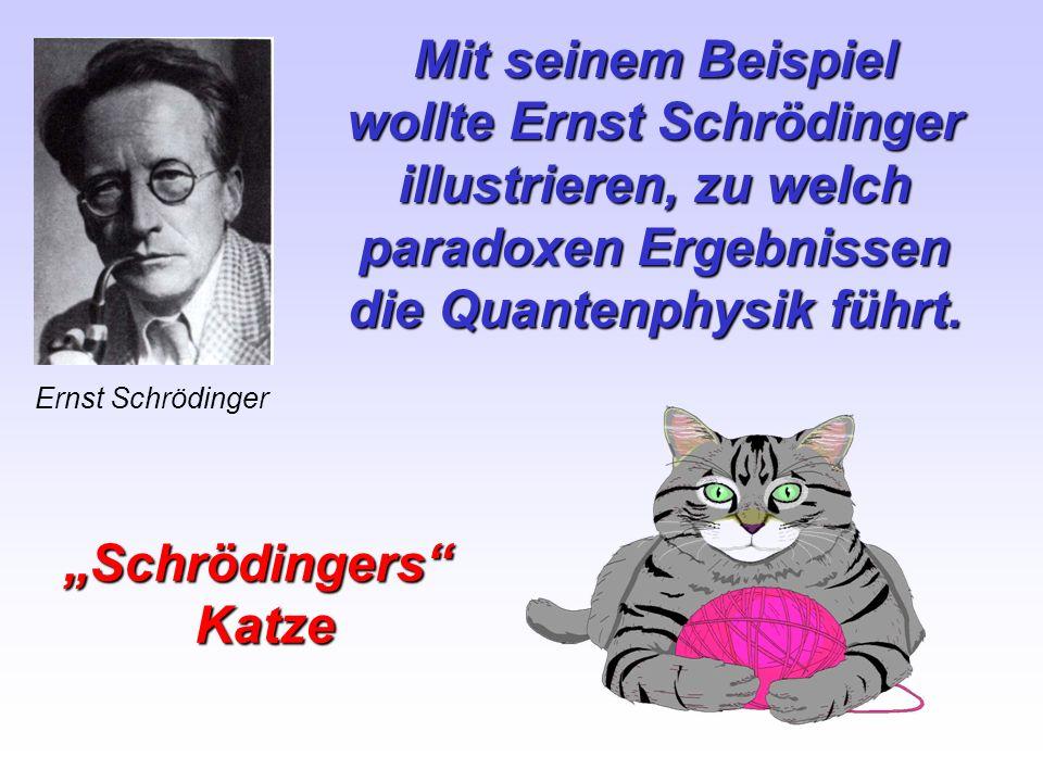 Mit seinem Beispiel wollte Ernst Schrödinger illustrieren, zu welch paradoxen Ergebnissen die Quantenphysik führt. Ernst Schrödinger SchrödingersKatze