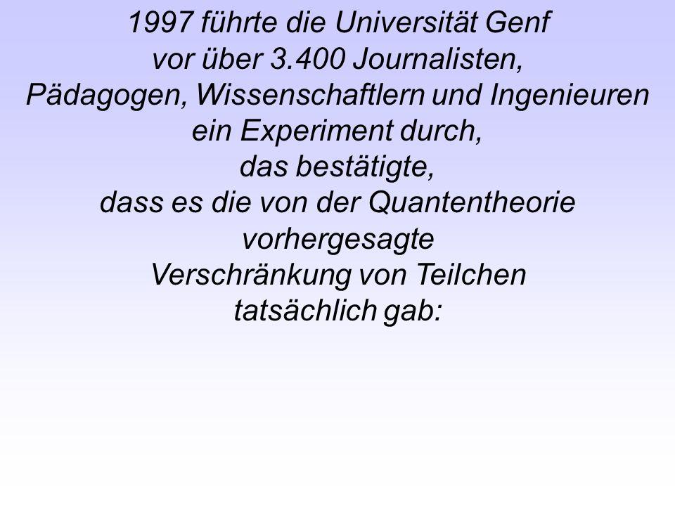 1997 führte die Universität Genf vor über 3.400 Journalisten, Pädagogen, Wissenschaftlern und Ingenieuren ein Experiment durch, das bestätigte, dass e