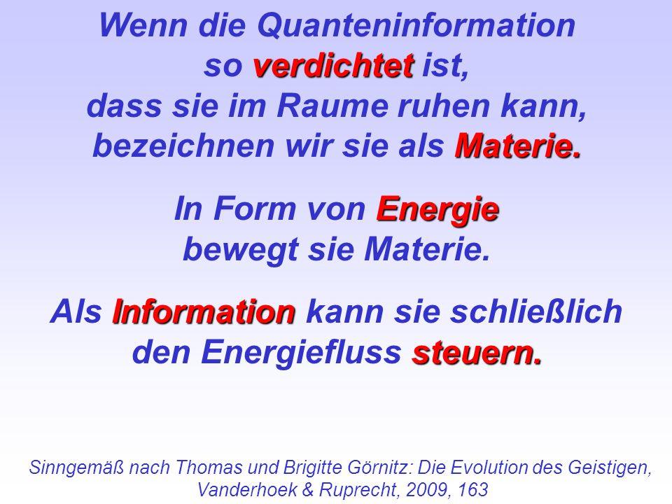 Wenn die Quanteninformation verdichtet so verdichtet ist, dass sie im Raume ruhen kann, Materie. bezeichnen wir sie als Materie. Energie In Form von E
