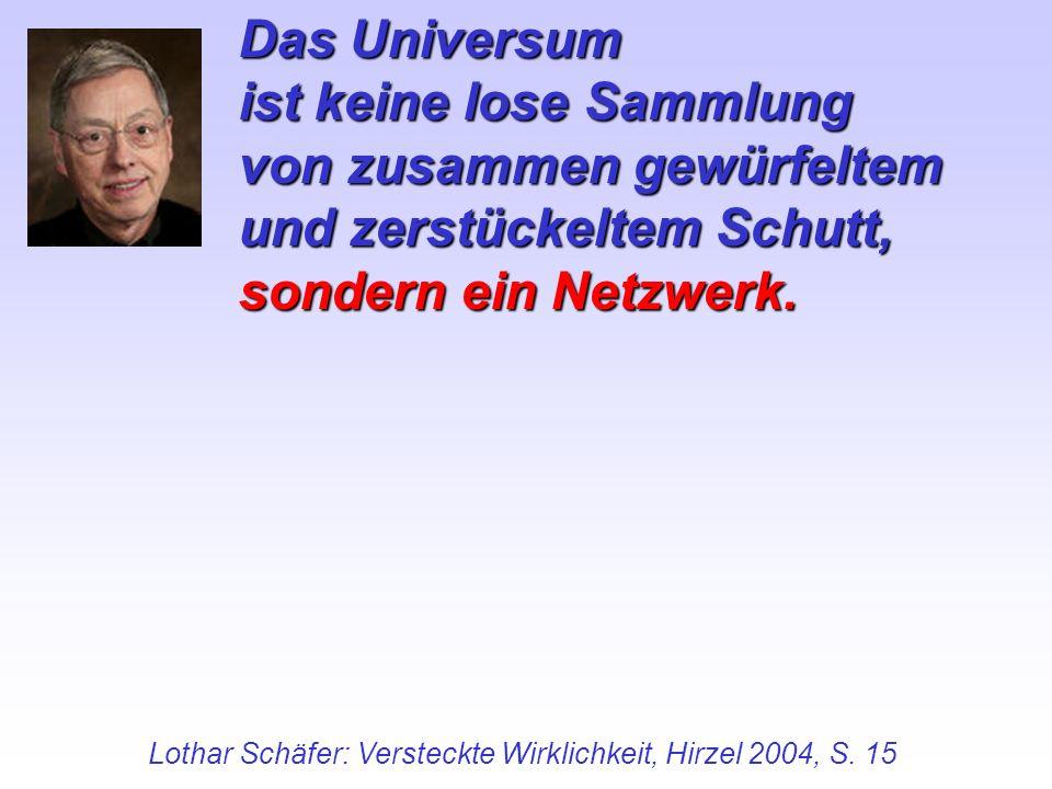 Das Universum ist keine lose Sammlung von zusammen gewürfeltem und zerstückeltem Schutt, sondern ein Netzwerk. Lothar Schäfer: Versteckte Wirklichkeit
