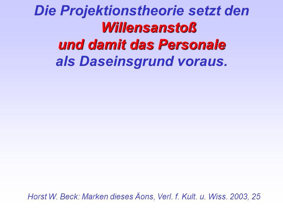 Willensanstoß Die Projektionstheorie setzt den Willensanstoß und damit das Personale als Daseinsgrund voraus. Horst W. Beck: Marken dieses Äons, Verl.