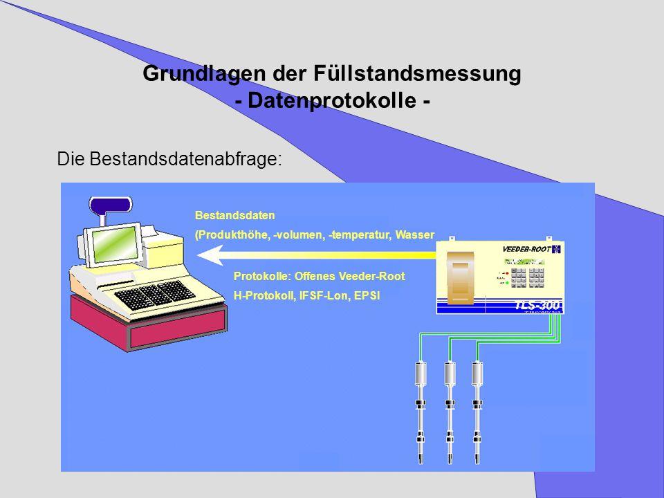 Grundlagen der Füllstandsmessung - Datenprotokolle - Die Bestandsdatenabfrage: Bestandsdaten (Produkthöhe, -volumen, -temperatur, Wasser Protokolle: O