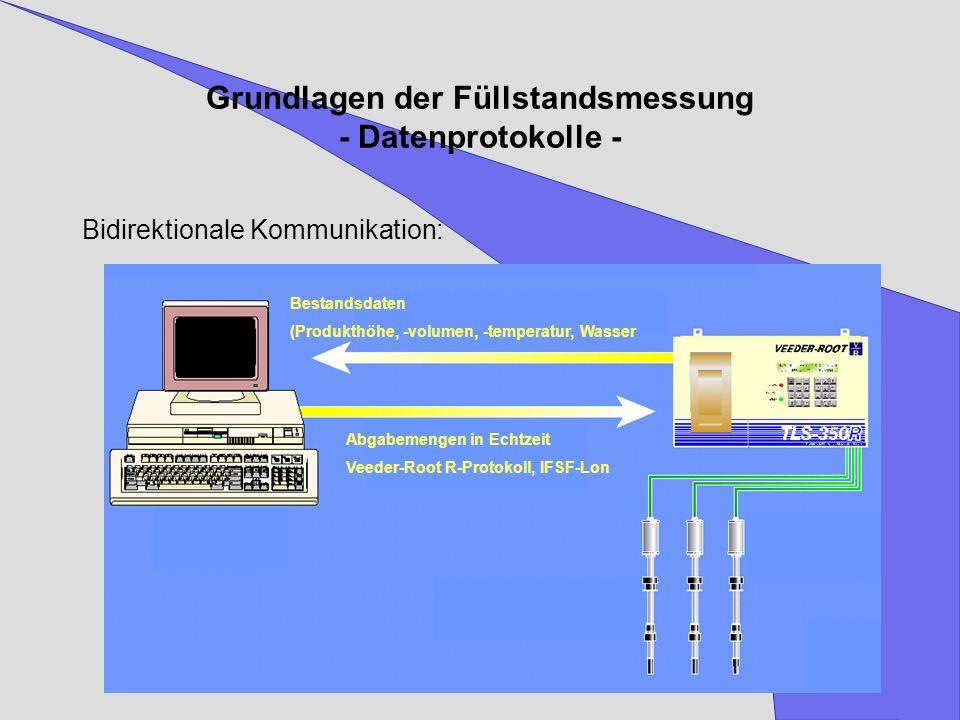 Grundlagen der Füllstandsmessung - Datenprotokolle - Bidirektionale Kommunikation: Bestandsdaten (Produkthöhe, -volumen, -temperatur, Wasser Abgabemen