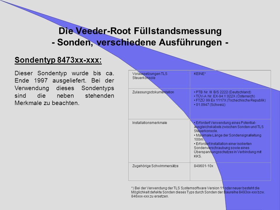 Die Veeder-Root Füllstandsmessung - Sonden, verschiedene Ausführungen - Voraussetzungen TLS Steuerkonsole KEINE* Zulassungsdokumentation PTB Nr. III B