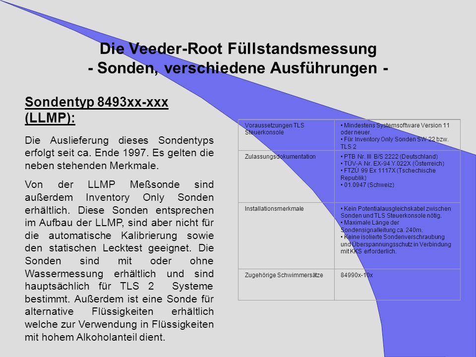 Die Veeder-Root Füllstandsmessung - Sonden, verschiedene Ausführungen - Sondentyp 8493xx-xxx (LLMP): Die Auslieferung dieses Sondentyps erfolgt seit c