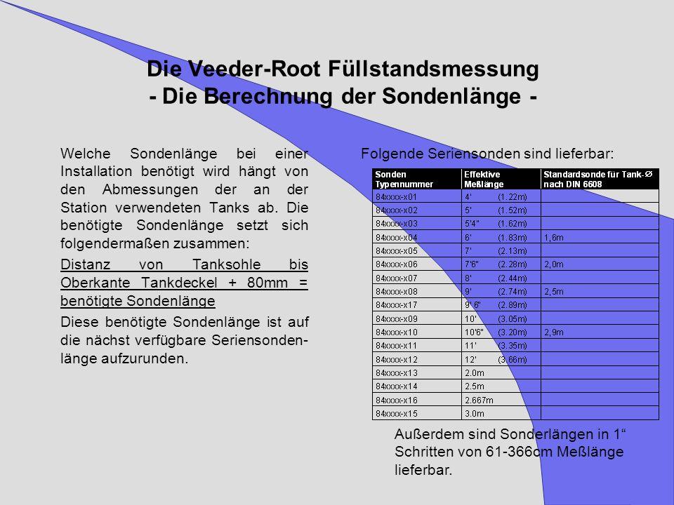 Die Veeder-Root Füllstandsmessung - Die Berechnung der Sondenlänge - Welche Sondenlänge bei einer Installation benötigt wird hängt von den Abmessungen