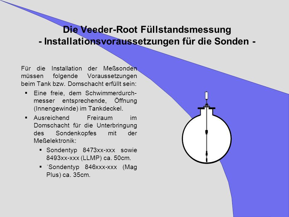 Die Veeder-Root Füllstandsmessung - Installationsvoraussetzungen für die Sonden - Für die Installation der Meßsonden müssen folgende Voraussetzungen b