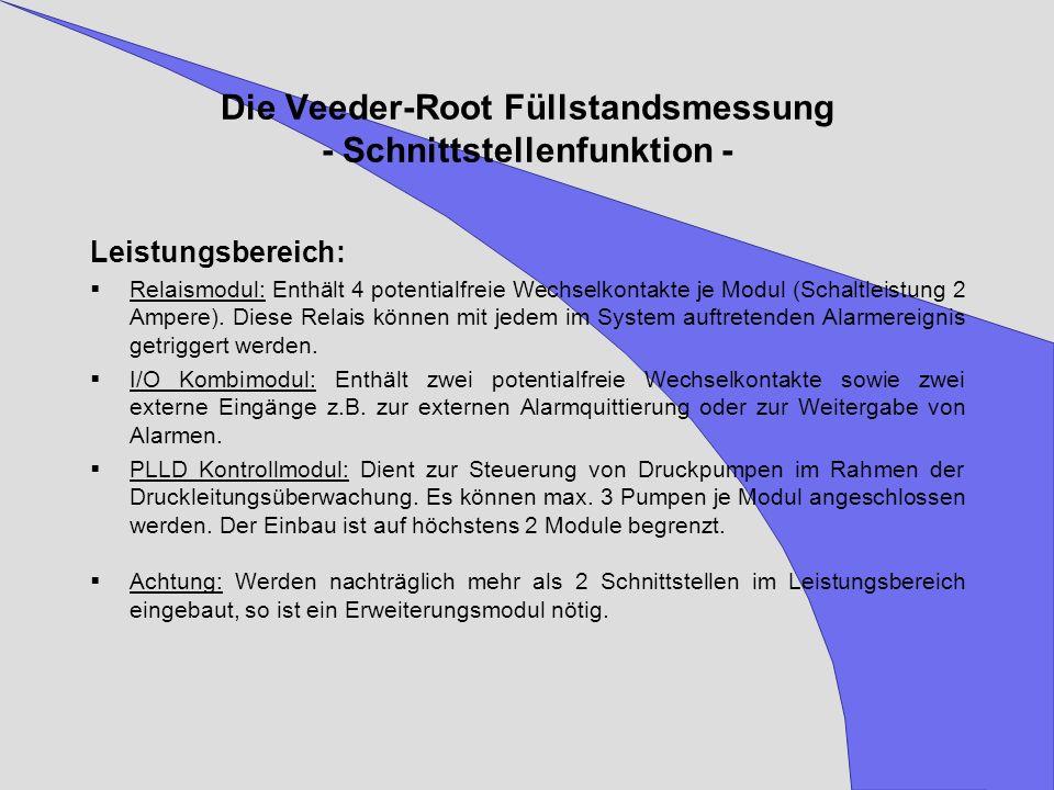Die Veeder-Root Füllstandsmessung - Schnittstellenfunktion - Leistungsbereich: Relaismodul: Enthält 4 potentialfreie Wechselkontakte je Modul (Schaltl
