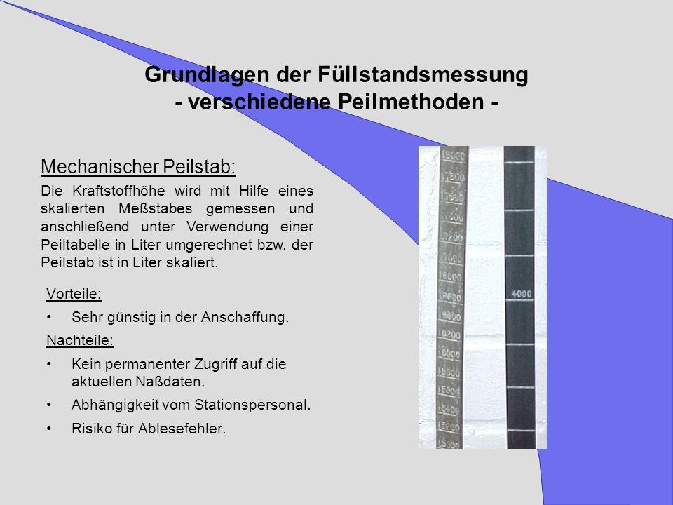 Grundlagen der Füllstandsmessung - verschiedene Peilmethoden - Mechanischer Peilstab: Die Kraftstoffhöhe wird mit Hilfe eines skalierten Meßstabes gem