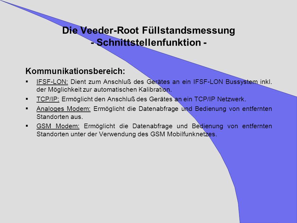 Die Veeder-Root Füllstandsmessung - Schnittstellenfunktion - Kommunikationsbereich: IFSF-LON: Dient zum Anschluß des Gerätes an ein IFSF-LON Bussystem