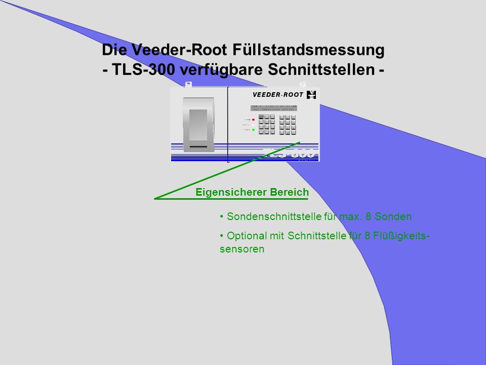 Die Veeder-Root Füllstandsmessung - TLS-300 verfügbare Schnittstellen - Eigensicherer Bereich Sondenschnittstelle für max. 8 Sonden Optional mit Schni