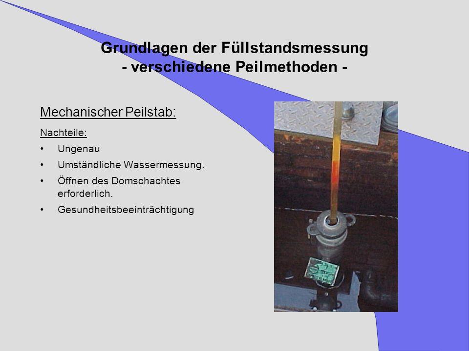 Grundlagen der Füllstandsmessung - verschiedene Peilmethoden - Mechanischer Peilstab: Nachteile: Ungenau Umständliche Wassermessung. Öffnen des Domsch