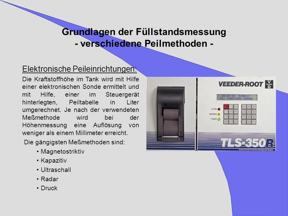 Elektronische Peileinrichtungen: Die Kraftstoffhöhe im Tank wird mit Hilfe einer elektronischen Sonde ermittelt und mit Hilfe, einer im Steuergerät hi