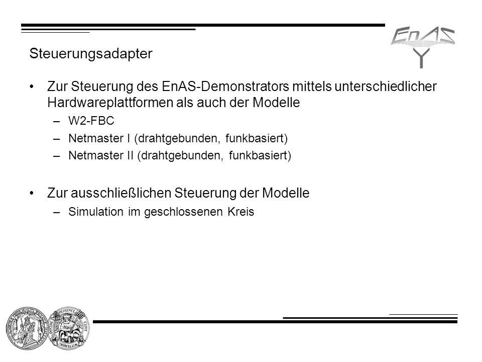 Steuerungsadapter Zur Steuerung des EnAS-Demonstrators mittels unterschiedlicher Hardwareplattformen als auch der Modelle –W2-FBC –Netmaster I (drahtgebunden, funkbasiert) –Netmaster II (drahtgebunden, funkbasiert) Zur ausschließlichen Steuerung der Modelle –Simulation im geschlossenen Kreis