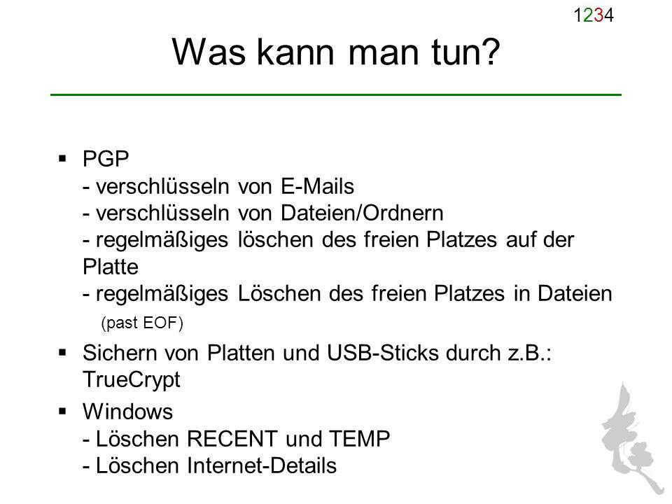 12341234 Was kann man tun? PGP - verschlüsseln von E-Mails - verschlüsseln von Dateien/Ordnern - regelmäßiges löschen des freien Platzes auf der Platt
