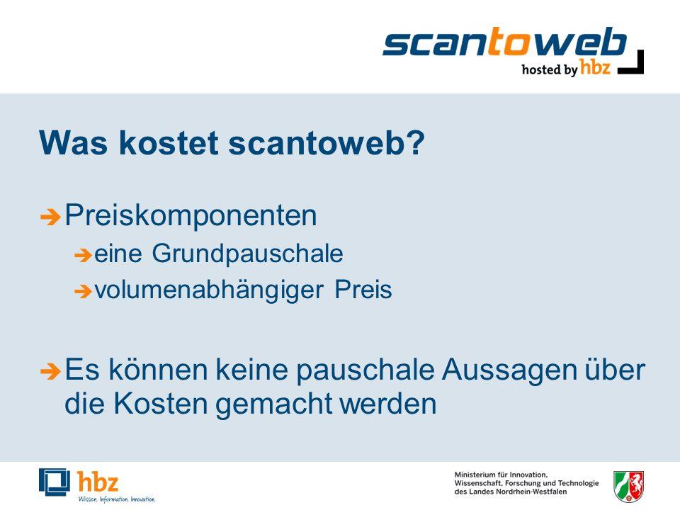 Was kostet scantoweb? Preiskomponenten eine Grundpauschale volumenabhängiger Preis Es können keine pauschale Aussagen über die Kosten gemacht werden