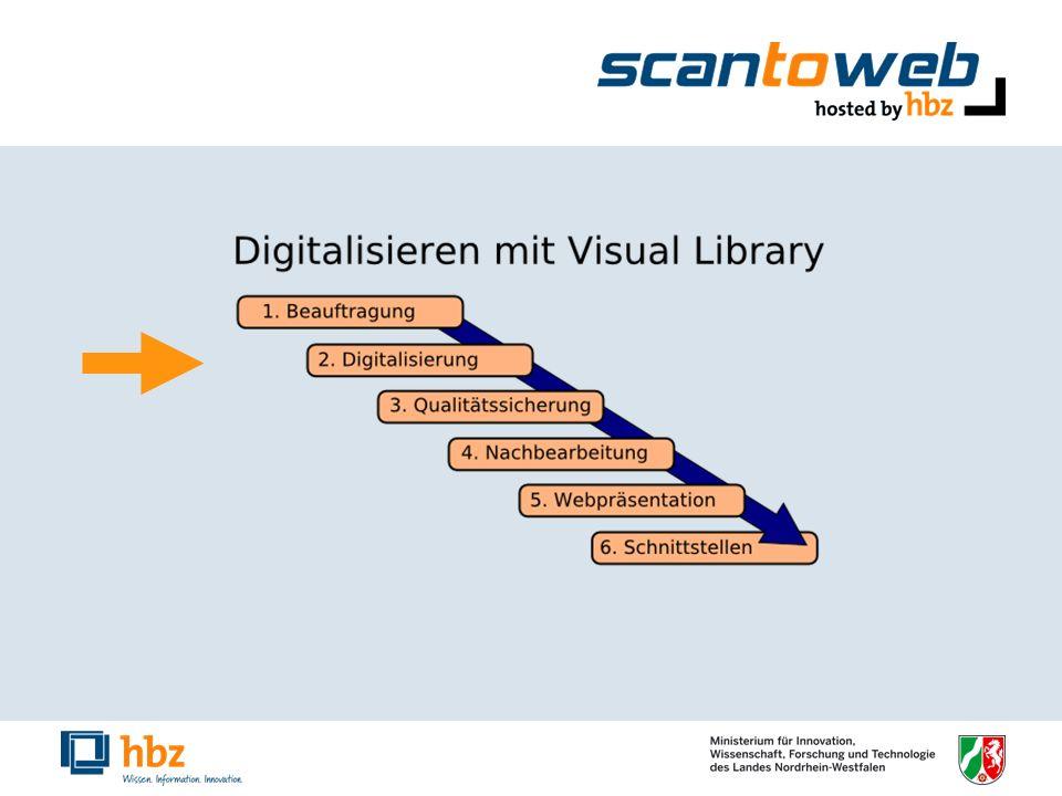 Digitalisierung Scandienstleister scannt Je nach Software: Strukturdatenerfassung Bereitstellung der Digitalisate in ein Importverzeichnis über FTP oder Austausch von Festplatten Import der Digitalisate automatisiert über Nacht