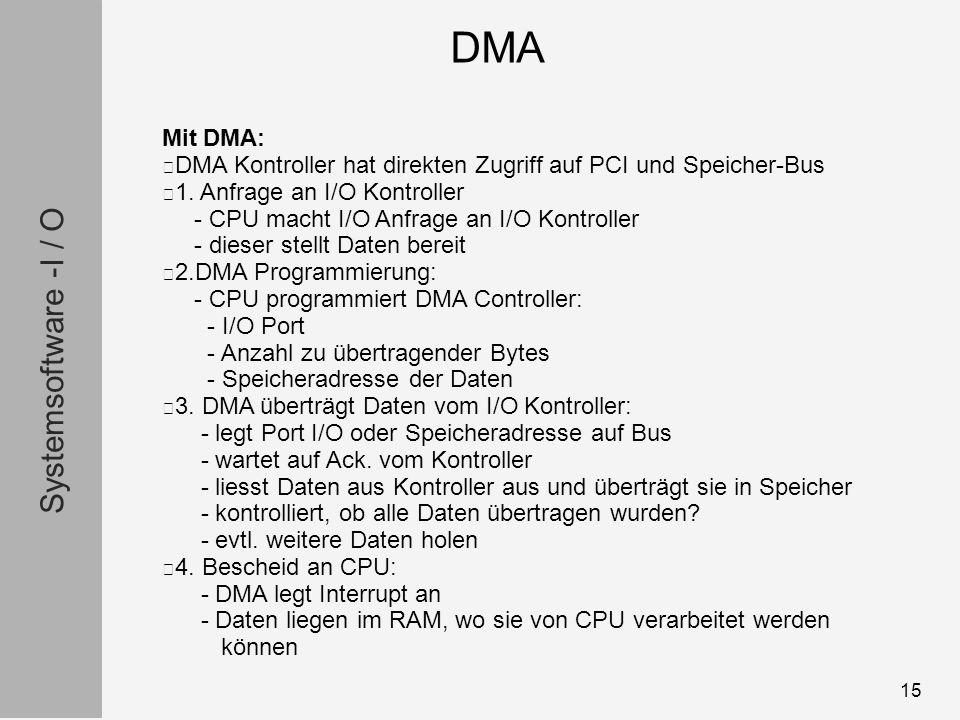 Systemsoftware -I / O 15 Mit DMA: DMA Kontroller hat direkten Zugriff auf PCI und Speicher-Bus 1.