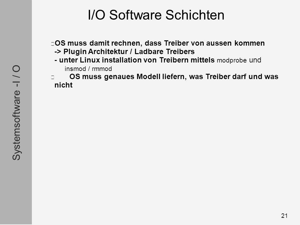 Systemsoftware -I / O 21 OS muss damit rechnen, dass Treiber von aussen kommen -> Plugin Architektur / Ladbare Treibers - unter Linux installation von Treibern mittels modprobe und insmod / rmmod OS muss genaues Modell liefern, was Treiber darf und was nicht I/O Software Schichten