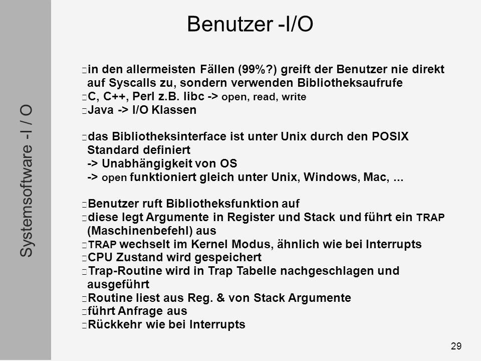 Systemsoftware -I / O 29 in den allermeisten Fällen (99% ) greift der Benutzer nie direkt auf Syscalls zu, sondern verwenden Bibliotheksaufrufe C, C++, Perl z.B.