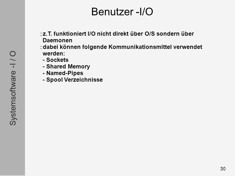 Systemsoftware -I / O 30 z.T.
