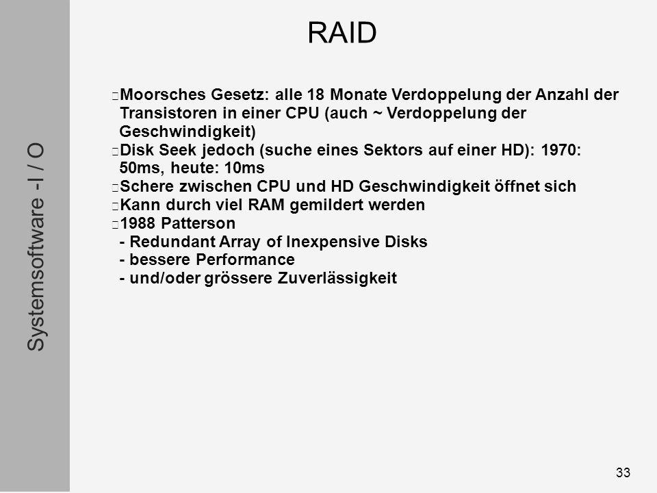 Systemsoftware -I / O 33 Moorsches Gesetz: alle 18 Monate Verdoppelung der Anzahl der Transistoren in einer CPU (auch ~ Verdoppelung der Geschwindigkeit) Disk Seek jedoch (suche eines Sektors auf einer HD): 1970: 50ms, heute: 10ms Schere zwischen CPU und HD Geschwindigkeit öffnet sich Kann durch viel RAM gemildert werden 1988 Patterson - Redundant Array of Inexpensive Disks - bessere Performance - und/oder grössere Zuverlässigkeit RAID
