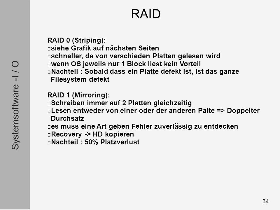 Systemsoftware -I / O 34 RAID 0 (Striping): siehe Grafik auf nächsten Seiten schneller, da von verschieden Platten gelesen wird wenn OS jeweils nur 1 Block liest kein Vorteil Nachteil : Sobald dass ein Platte defekt ist, ist das ganze Filesystem defekt RAID 1 (Mirroring): Schreiben immer auf 2 Platten gleichzeitig Lesen entweder von einer oder der anderen Palte => Doppelter Durchsatz es muss eine Art geben Fehler zuverlässig zu entdecken Recovery -> HD kopieren Nachteil : 50% Platzverlust RAID