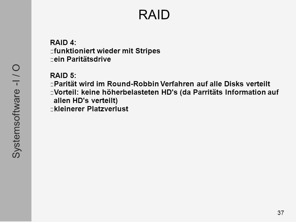 Systemsoftware -I / O 37 RAID 4: funktioniert wieder mit Stripes ein Paritätsdrive RAID 5: Parität wird im Round-Robbin Verfahren auf alle Disks verteilt Vorteil: keine höherbelasteten HD s (da Parritäts Information auf allen HD s verteilt) kleinerer Platzverlust RAID