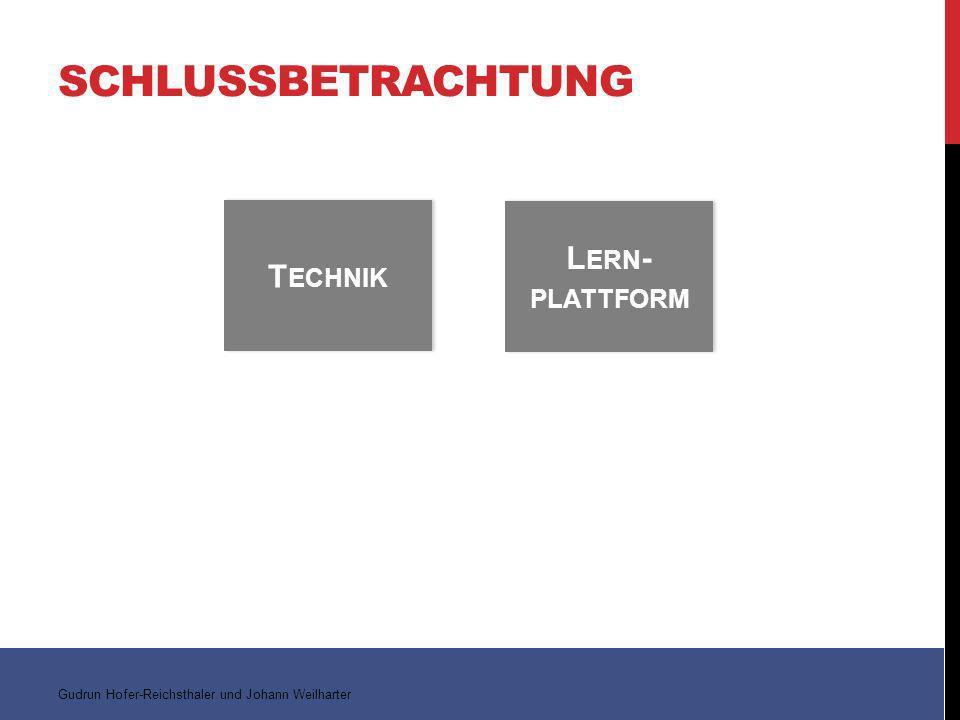 Gudrun Hofer-Reichsthaler und Johann Weilharter T ECHNIK L ERN - PLATTFORM SCHLUSSBETRACHTUNG