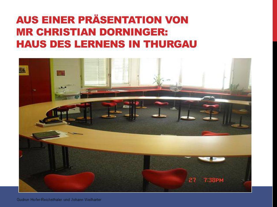 AUS EINER PRÄSENTATION VON MR CHRISTIAN DORNINGER: HAUS DES LERNENS IN THURGAU Gudrun Hofer-Reichsthaler und Johann Weilharter