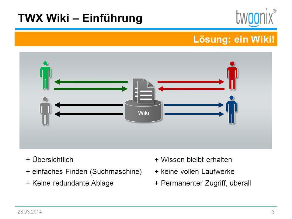 28.03.20143 TWX Wiki – Einführung Lösung: ein Wiki! + Übersichtlich + einfaches Finden (Suchmaschine) + Keine redundante Ablage + Wissen bleibt erhalt