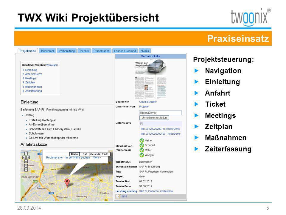 Textmasterformate durch Klicken bearbeiten TWX Wiki Projektübersicht 28.03.20145 Praxiseinsatz Projektsteuerung: Navigation Einleitung Anfahrt Ticket