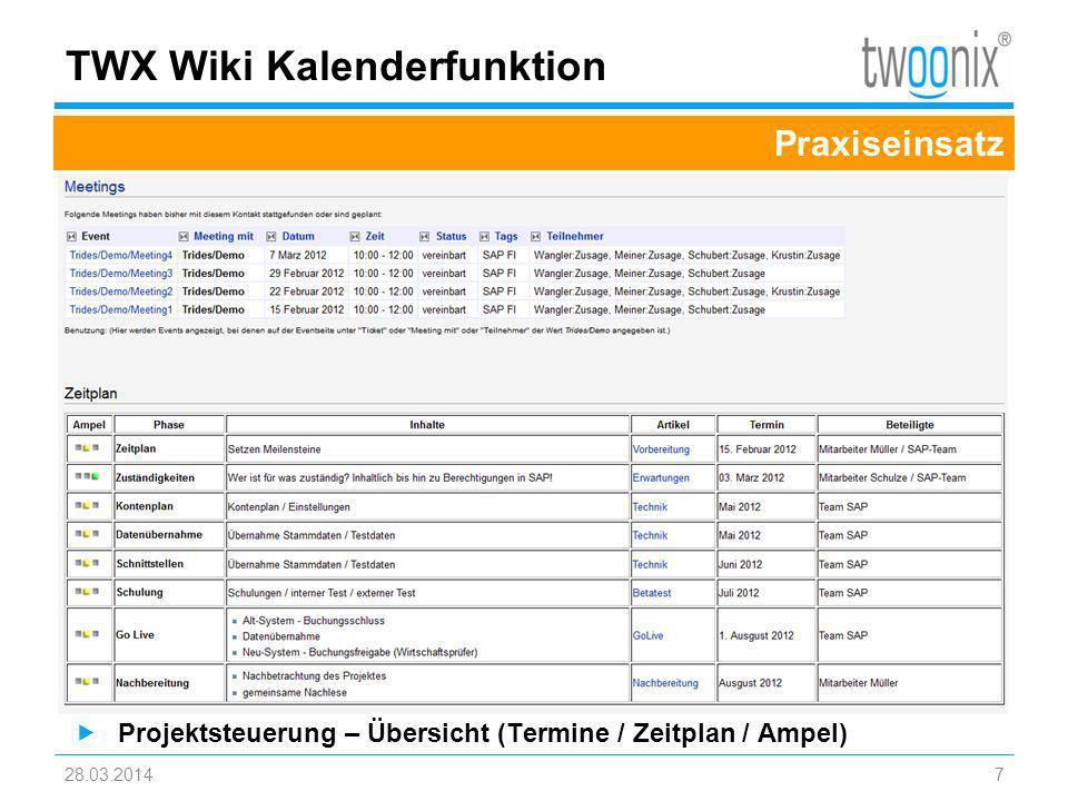 28.03.20148 TWX Wiki – Enterprise Edition Projektarbeit 2.0 Projektmanagement 2.0 –Multiprojektmanagement 2.0 –Projektaufwandserfassung –Projektcontrolling –Gremien- und –Projektstruktur –Maßnahmencontrolling –Agenda und Protokolle Übersicht gewinnen: –80% weniger MS Excel –weniger bis kein MS Access mehr –80% weniger eMails –weniger bis kein MS Project mehr –80% weniger Files Projektrelevante Daten werden aus dem Wiki anhand der Echtdaten zur Laufzeit generiert.