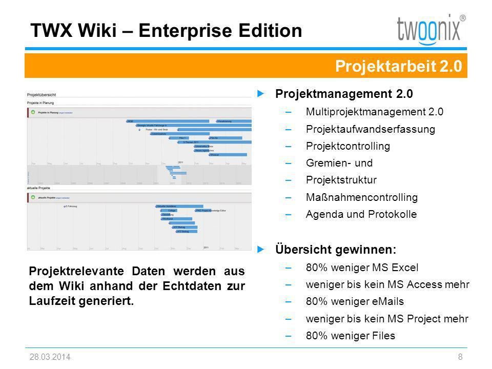 28.03.20148 TWX Wiki – Enterprise Edition Projektarbeit 2.0 Projektmanagement 2.0 –Multiprojektmanagement 2.0 –Projektaufwandserfassung –Projektcontro
