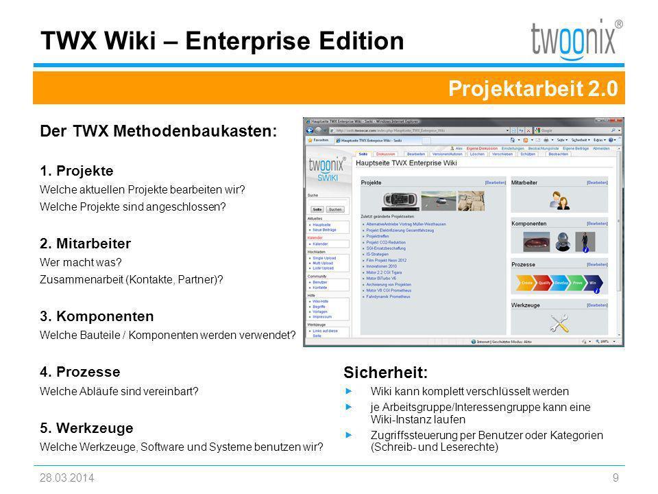 Der TWX Methodenbaukasten: 1. Projekte Welche aktuellen Projekte bearbeiten wir? Welche Projekte sind angeschlossen? 2. Mitarbeiter Wer macht was? Zus