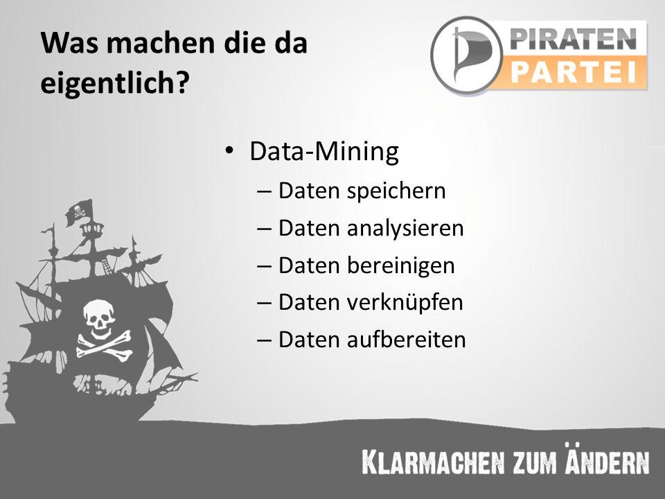 Was machen die da eigentlich? Data-Mining – Daten speichern – Daten analysieren – Daten bereinigen – Daten verknüpfen – Daten aufbereiten