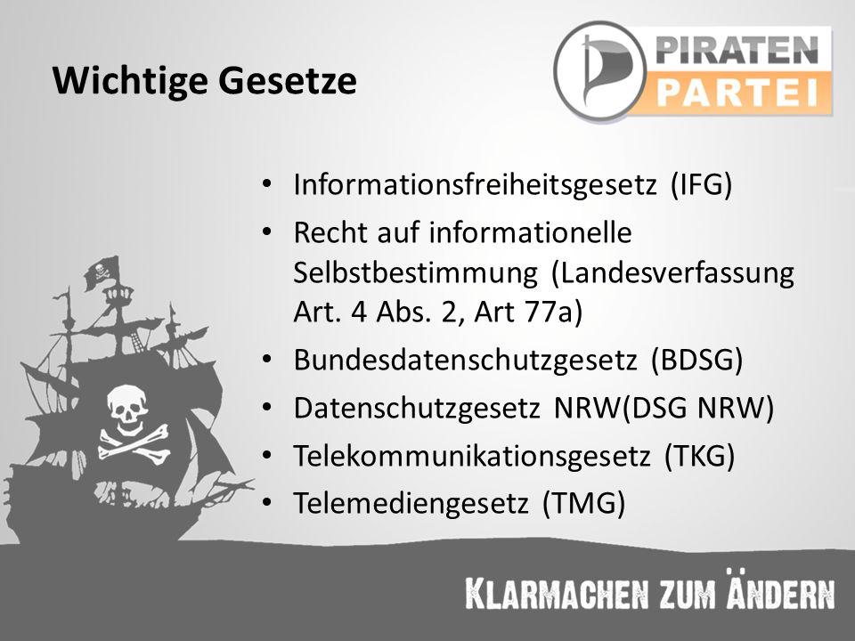 Wichtige Gesetze Informationsfreiheitsgesetz (IFG) Recht auf informationelle Selbstbestimmung (Landesverfassung Art. 4 Abs. 2, Art 77a) Bundesdatensch