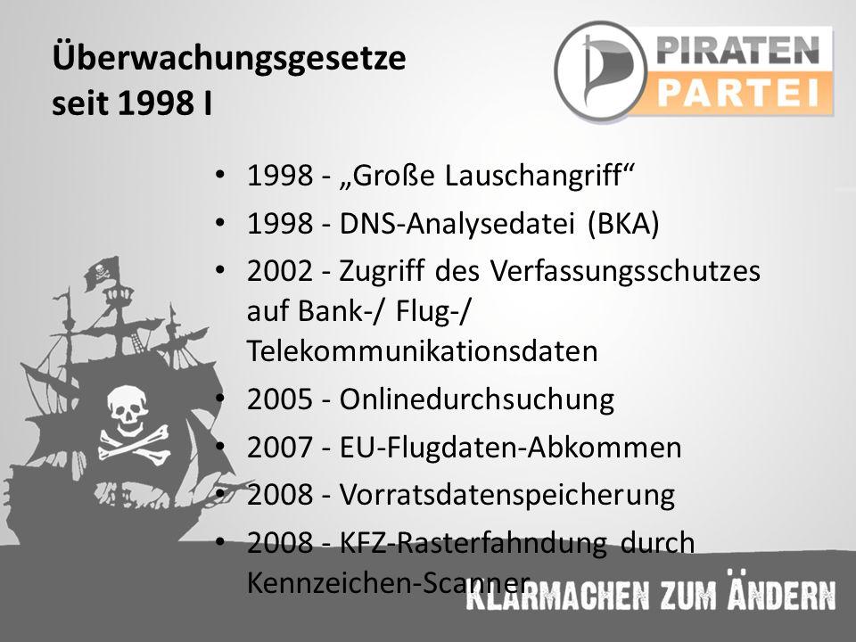 Überwachungsgesetze seit 1998 I 1998 - Große Lauschangriff 1998 - DNS-Analysedatei (BKA) 2002 - Zugriff des Verfassungsschutzes auf Bank-/ Flug-/ Tele