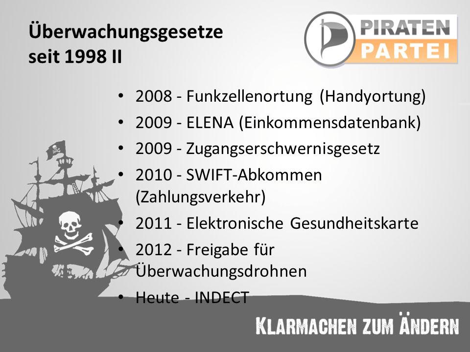 Überwachungsgesetze seit 1998 II 2008 - Funkzellenortung (Handyortung) 2009 - ELENA (Einkommensdatenbank) 2009 - Zugangserschwernisgesetz 2010 - SWIFT