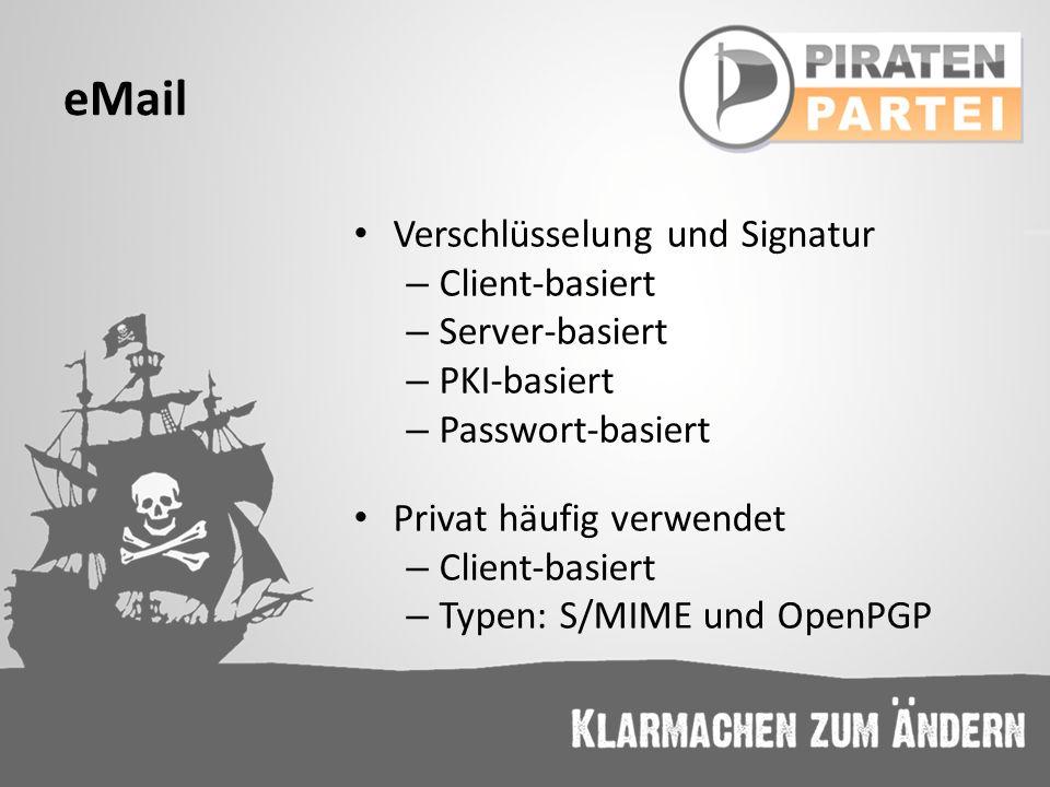 eMail Verschlüsselung und Signatur – Client-basiert – Server-basiert – PKI-basiert – Passwort-basiert Privat häufig verwendet – Client-basiert – Typen